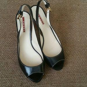 Authentic Prada open toe black leather heels